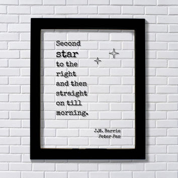 Second star to the right and then straight on till morning. - J.M. Barrie - Peter Pan - Floating Quote - Modern Minimalist fairy dust