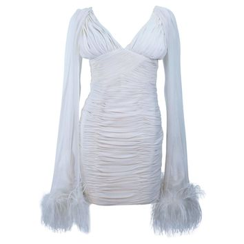 I. MAGNIN White Ruched Cocktail Dress with Feather Trim Size 2