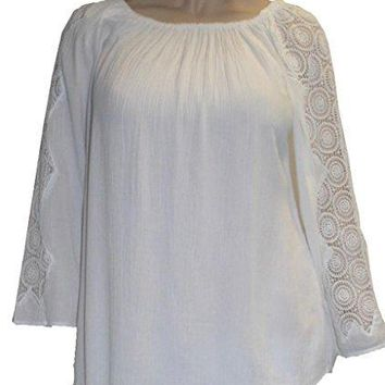 Rayon Crape Bohemian Gypsy Lace Sleeve Medieval Tunic Blouse