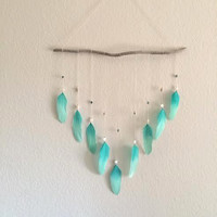 Feather Wall Hanging - Bohemian Driftwood - Dream Catcher - Beach Wall Hanging - Aqua/ Turquoise