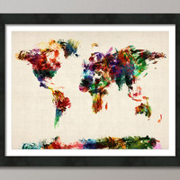 Map of the World Map Abstract Painting Art Print 18x24 by artPause