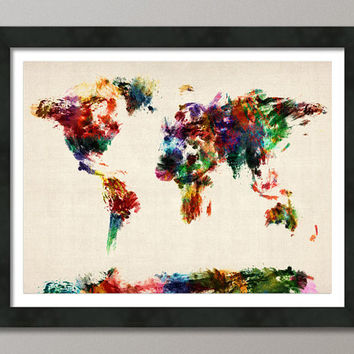Map Of The World Map Abstract Painting From Artpause On Etsy