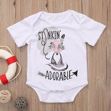 Fox Printed Baby Clothes Summer Cotton Newborn Baby Girls Romper Jumpsuit Sunsuit Outfit Clothing