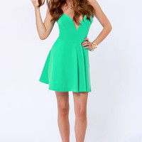 LULUS Exclusive Flare Share Mint Green Strapless Dress