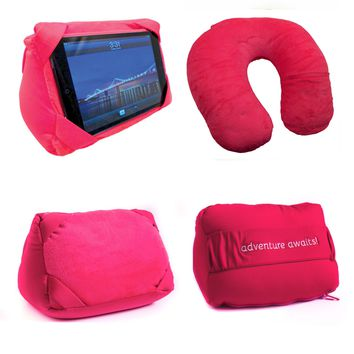 Pink Convertible Travel  Pillow / IPAD Stand