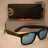 Tagre™ Cheap Ray Ban 4165 Justin Rubber Black w Blue Mirror Flash Lens (RB4165 622/55 51)