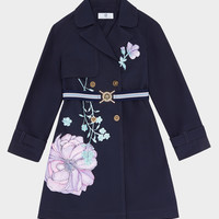 Young Versace Floral Burst Cotton Trench Coat for Girls | Official Website
