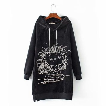 Plus size Embroidered velour hoodies women drop-shoulder sleeve black sweatshirt 2018 Autumn winter hooded ladies pullovers 4XL