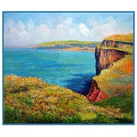 The Cliff At Varengeville inspired by Claude Monet's impressionist painting Counted Cross Stitch or Counted Needlepoint Pattern