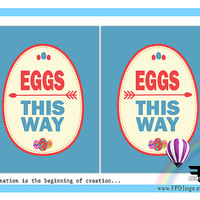 Easter Printable | Easter Eggs This Way Poster | Easter Eggs This Way Sign | Easter Instant download | Easter PDF | 8.5 inch x 11 inch
