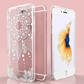Luxury White Clear Lace Flower Case For iPhone 6 Plus Transparent Crystal Soft Cover For iPhone 6S 5.5 Silicone TPU Phone Cases
