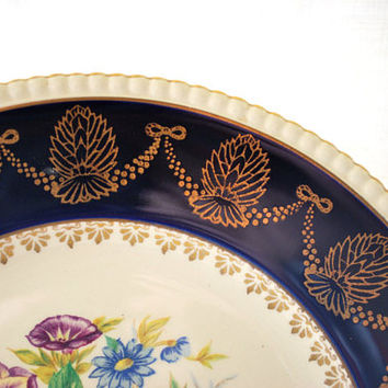 Vintage Oval Plate, Cobalt Blue, 1960s Kitchenware, Wedding Gift Idea