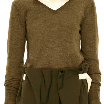 Acne Studios Lia V-Neck Khaki Sweater