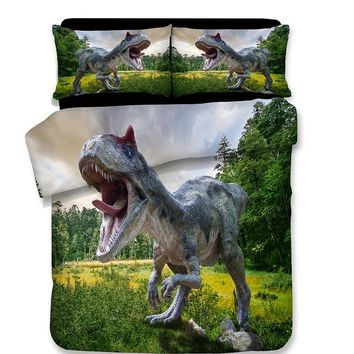 3Pcs 3D Cartoon dinosaur Soft Polyester bedding Sets For Adults Duvet cover With Pillowcase Queen king luxury fashion bedclothes