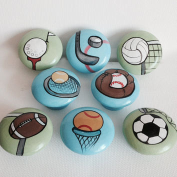 Hand Painted Sports Drawer Pulls / Dresser Knobs / Closet Handles for Boys Rooms, Play Rooms and Nursery Rooms