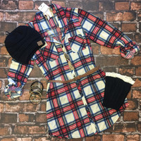 You Plaid me at Hello Belted Tunic: Cream/Blue