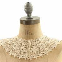 Antique Edwardian White Ivory Lace Floral Wedding Collar