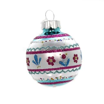 Shiny Brite VC DECORATED ROUNDS. Glass Ornament 4027633S Teal