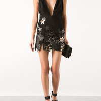 ANTHONY VACCARELLO SUEDE AND BLACK LEATHER PATCHWORK MINI DRESS