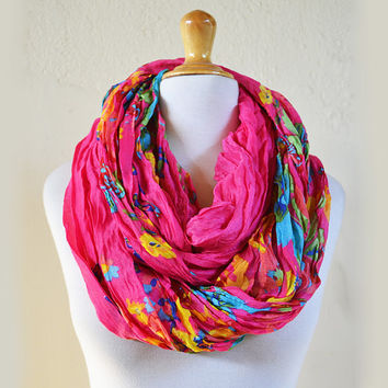 Womens infinity scarf PINK with colored floral pattern - shawl neckwarmer - accessories - loop