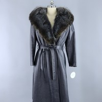 Vintage 1960s Charcoal Blue Grey Leather Coat with Fur Collar