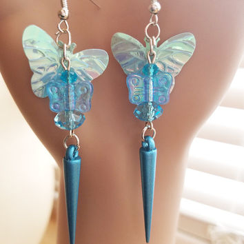 MAMMA BABY blue butterfly earrings  dangle drop earrings bead sequins handmade insect bug nature Jewelry