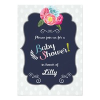Chic Floral Baby Shower Invitation
