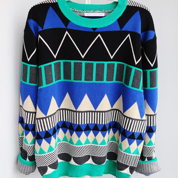 GEOMETRIC Triangle pattern sweater leon blue