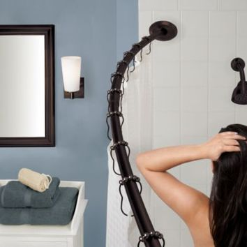 The Gripper™ Easy Install Adjustable Curved Shower Rod in Oil Rubbed Bronze