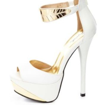 Qupid Gold Leaf Ankle Cuff Heels by Charlotte Russe - White