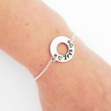 Personalized washer bracelet, message bracelet, Christmas gift for her, coordinates bracelet silver bracelet grandma gift for mom bridesmaid
