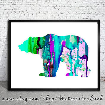 Bear 4 Watercolor Print, watercolor painting, watercolor art, Illustration,  home decor wall art,bear art, watercolor animal, Grizzly