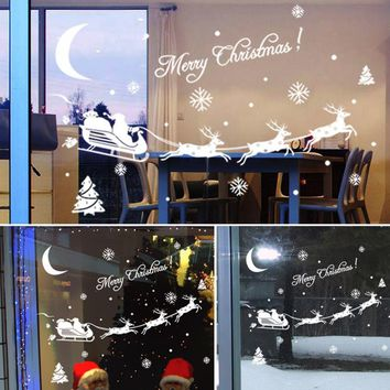 New Christmas Decoration Decal Window Stickers removable glass wall Xmas Merry Christmas Santa Deer&Sleigh Ride wall sticker