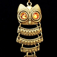 Small bronze owl with topaz Swarovski crystal eyes tiered dangle pendant necklace