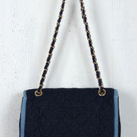 Denim Quilted Flap Bag