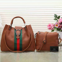 Gucci Women Leather Satchel Handbag Tote Shoulder Bag Two Piece Set