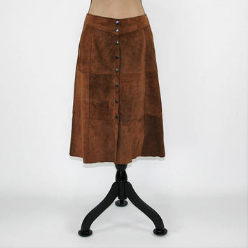 Patchwork Leather Skirt Brown Suede Skirt A Line Midi Skirt Large Size 12 Skirt ALine Snap Button Up Skirt Brown Skirt GAP Womens Clothing