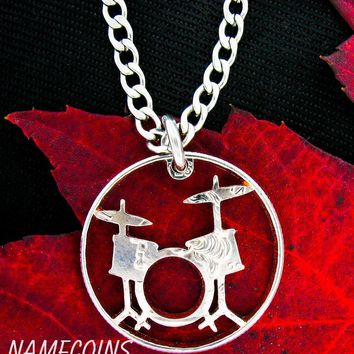 Drum Set Necklace, Rockers jewelry hand cut coin by NameCoins