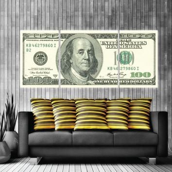 $100 Bill Money Art Old Money Canvas Print