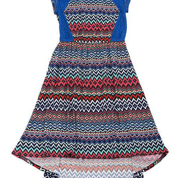 Rare Editions Girls Blue Lace Multi Pattern High Low Dress