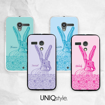 Rabbit Bunny personalized name phone case with custom name - Moto G case - Moto X case - Moto E case - free screen protector included - E15