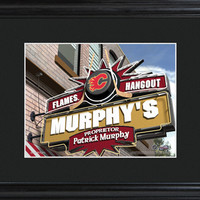 NHL Pub Print in Wood Frame - Flames