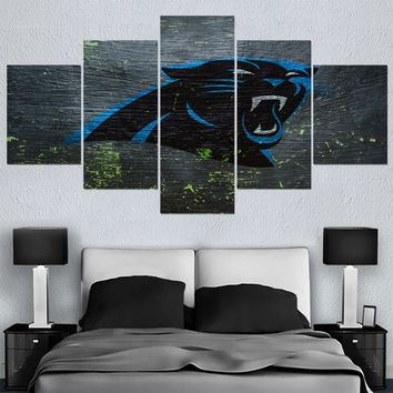 Modern Home Decor Picture Animal Carolina Panthers 5 Panel Canvas Painting Calligraphy Sport Ball Team Poster Wall Art Paintings