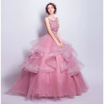 Pink Prom Dresses Ball Gown Ruffles  Flower Crystal Sleeveless Formal Evening Gowns Lace Up