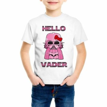 Cute Cartoon Star Wars Hello Kitty Design Princess Girls T Shirts Boys Vader Children Casual Top Tees Kids Clothes Z16-7