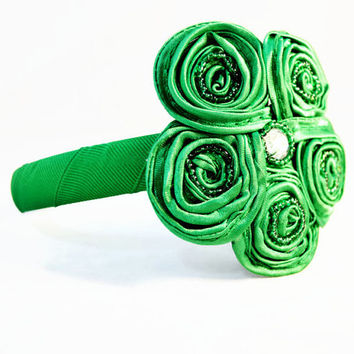 Green Flower Headband, Bright Green Satin Swirl Flower with Crystal Center Headband, Crystal Embellished Headband