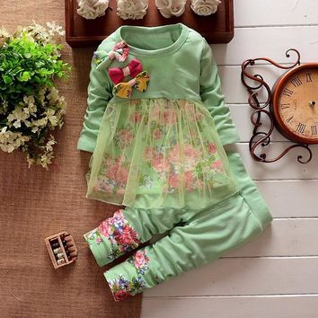 Puseky 2Pcs Baby Girls Kids Clothes Sets Toddler Long Sleeved Bow Flower Cute Tulle T-shirt Tops + Pants Outfit Set Girl 6M-4Y