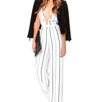 White Stripe Deep V-Neckline Backless Jumpsuit