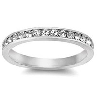 Sterling Silver Clear Cubic Zirconia CZ Eternity Ring