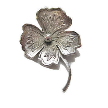 Vintage Sterling Clover Brooch by Wells